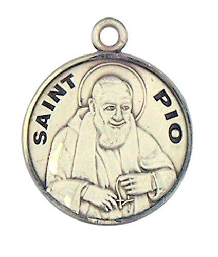 Sterling Silver Patron Saint Padre Pio Round Medal Pendant, 7/8 (Padre Pio Patron Saint)