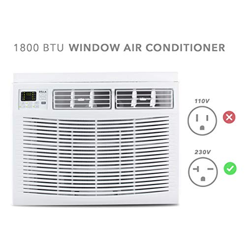 DELLA 230V 18,000 BTU Compact Window-Mounted Air Conditioner Energy Star Rooms up to 1000 sq. ft.