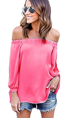 Women Sexy Long Sleeve Off shoulder Solid Casual Blouse (Pink) - 2
