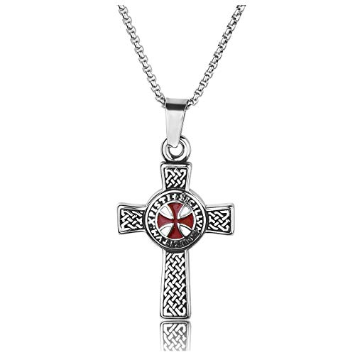 (Jovivi Men's Stainless Steel Viking Norse Celtic Knot Ordre Du Temple Maltese Cross Pendant Necklace 24