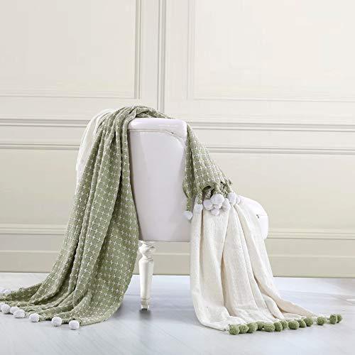 (Hebel Amrapur Overas | Cross Stitch 100% Cotton Throw Blanket with Pom Pom Fringe - 2 Pack (Sage) | Model BLNKT - 6 | 42Standard)