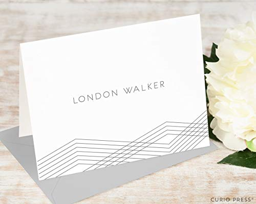 - LINES FOLDED - Personalized Stationery/Stationary Geometric Womens and Mens Notecard Set