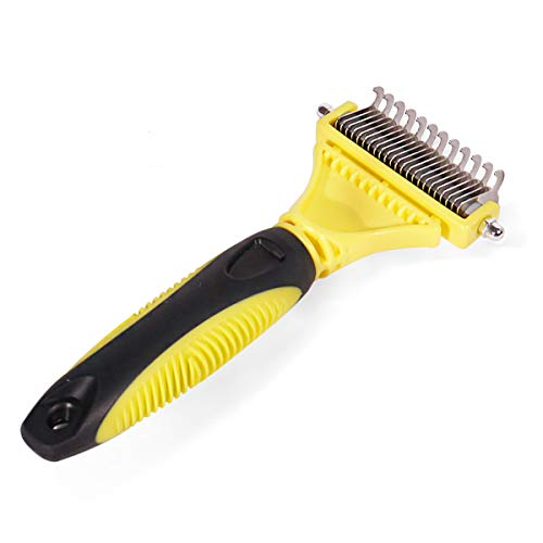 Speedy Pet Dog Dematting Comb, Grooming Tool 2 Sided Undercoat Rake for Cats Dogs, Gently Removes Toughest Mats, Tangles and Knots Hair by Speedy Pet
