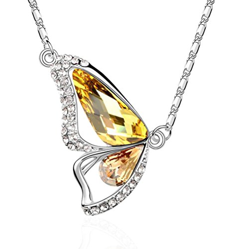 Ginasy New Design AustrianCrystalButterfly Pendant Necklace in Fine Lobster Clasp Jewelry for Bridal or Fashion - Genuine Platinum Plated (Butterfly (Link Costume Template)