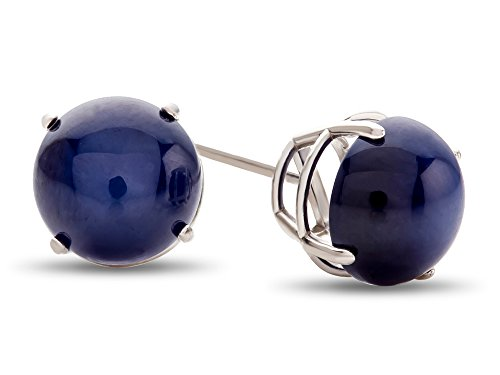 Finejewelers 14k White Gold 7mm Round Created Star Sapphire Post-With-Friction-Back Stud Earrings