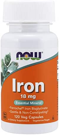 Now Supplements, Iron 18 mg, Non-Constipating*, Essential Mineral, 120 Veg Capsules