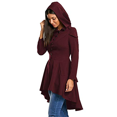 JOFOW Womens Tailcoat Coat Steampunk Costume Solid Slant Front Single-Breast Back Strappy Layered Hooded Tunic Long Jackets (XL =US:6-10,Wine red) -