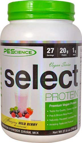 PEScience Select Vegan Protein Premium Pea and Brown Rice Blend, Wild Berry, 27.6 Ounce