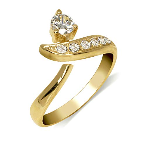 JewelryWeb Solid 10K Yellow or White Gold Adjustable Modern Bypass Cubic Zirconia CZ Toe Ring (8mmx15mm) (Yellow-Gold)