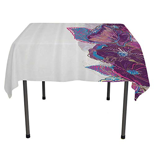 Floral Clear Tablecloth Watercolor Drawing Style Artistic Flowers Leaves Butterfly Ornamental Border Purple Pink Blue Tablecloth for Picnic Tables Spring/Summer/Party/Picnic 50 by 80