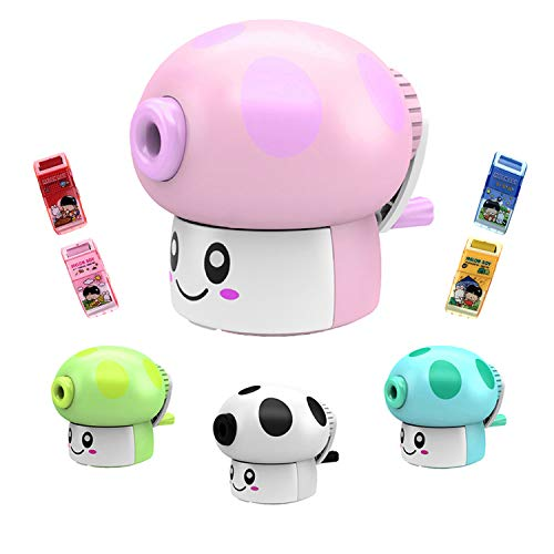 Novelty Pencil Sharpener, Kids Hand held Manual Pencil Sharpener, Advanced Pencil Sharpener and Eraser Set, Desk and School Supplies | Kids' Best Gift Ideas | Cute Birthday Party(Pink)