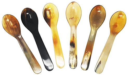 Caviar Spoons with Round Handle Water Buffalo Horn Spoons 7 Inch Set of 6 pieces Sugar Seasoning Salt Spoons (Horn Serving Spoon)
