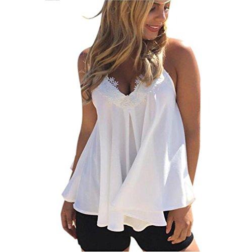Kangma Tees&Blouse&Sweatshirt Kangma Women Summer Chiffon Vest Sleeveless Shirt Blouse Casual Tank Tops White