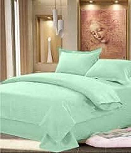 SINGHS MART Pure Cotton Plain Double Bed Sheet with 2 Pillow Covers,Green