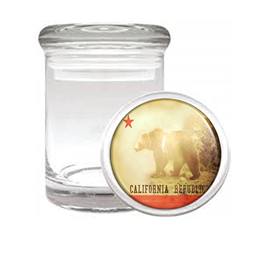 California Bear D4 Medical Glass Jar 3'' X 2'' Herb & Spices State Animal Bear Flag California Republic Cali by Perfection In Style