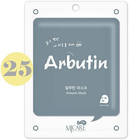 Pack of 25, The Elixir Beauty Korean Cosmetics MJ On Collagen Essence Full Face Facial Mask Sheet, Arbutin Essence