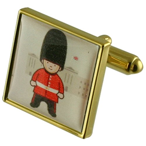 London Solider Gold-tone Square Cufflinks with Select Gifts Pouch ()