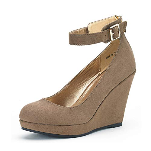 DREAM PAIRS Women's ASH-22 Taupe Mary Jane Round Toe Platform Fashion Wedges Pumps Shoes Size 8.5 US