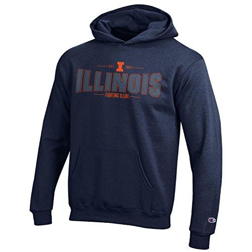 Illini Hoody Sweatshirts - Champion NCAA Youth Long Sleeve Fleece Hoodie Boy's Collegiate Sweatshirt, Illinois Illini, Medium