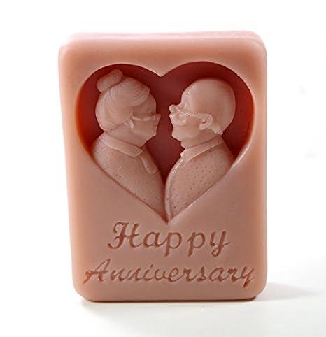 Il feliz aniversario M379 molde de silicona molde para hacer moldes artesanales hechas a mano: Amazon.es: Hogar