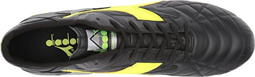 Diadora M.winner Rb Italie Og Mdpu Chaussures De Football Pour Hommes 172359 Black / Yellow Flourescent