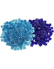 500 Pieces Square Glass Pieces Mosaic Tiles for Mosaic Making Craft Dark Blue & Lake Blue 10x10mm Durable and Deft
