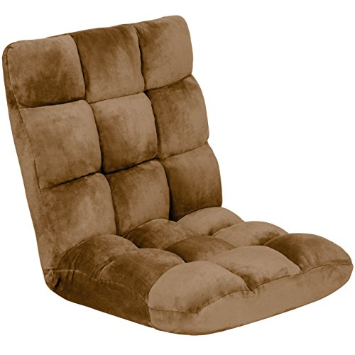 - Best Choice Products 14-Position Folding Adjustable Memory Foam Cushioned Padded Gaming Floor Sofa Chair for Living Room, Bedroom - Brown