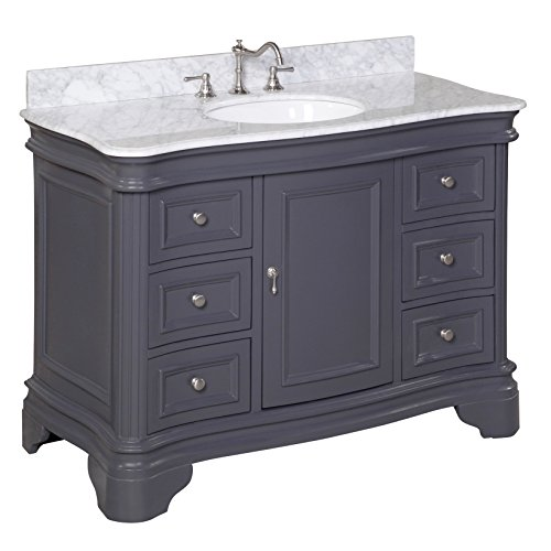Kitchen Bath Collection KBC-A48GYCARR Katherine Bathroom Vanity with Marble Countertop, Cabinet with Soft Close Function and Undermount Ceramic Sink, Carrara/Charcoal Gray, 48