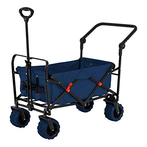 powerful Blue Wide Wheel Wagon All Terrain Folding Collapsible Utility Wagon with Push Bar - Portable Rolling Heavy Duty 265 Lb Capacity Canvas Fabric Cart Buggy - Beach, Garden, Sporting Events, Park, Picnic