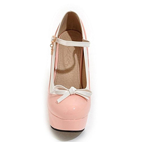 TAOFFEN High Shoes Court Heel Women's With Pink Fashion Bow g6Fqwgr
