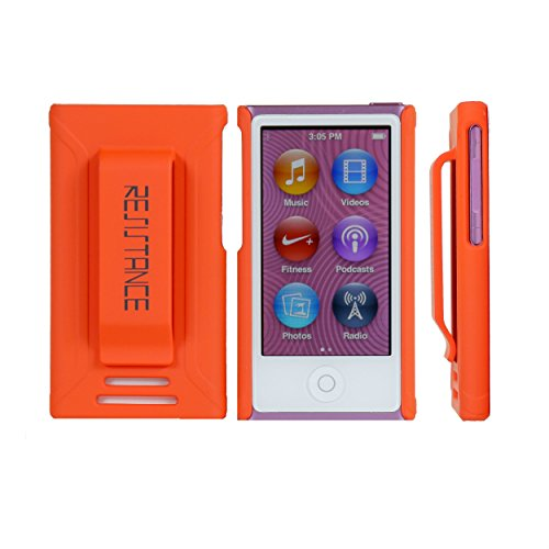 iPd Nano 7 Case, Resistance Shock Absorbing Protective Case with Ergonomic Rubberized Finish and Built-in Belt Clip for iPod Nano 7 (7th Generation), Orange (Ipod Nano Case Orange)