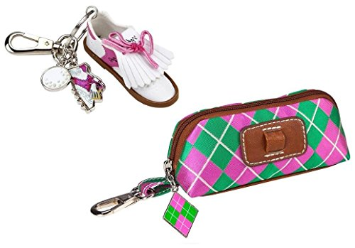Sydney Love Argyle Clip on pouch with keychain (Women) - Pink/Green