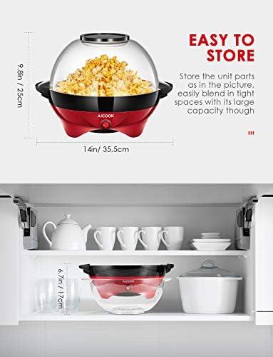 Aicook Machine à Popcorn, Électrique Machine à Pop Corn avec Plateau de Cuisson Détachable, Revêtement Antiadhésif, Bol de 5l Couvercle 2-en-1, Rouge