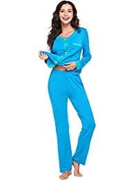 Avidlove Womens Cotton Pajama Set Short-Sleeve Long Pjs Pants Sleepwear