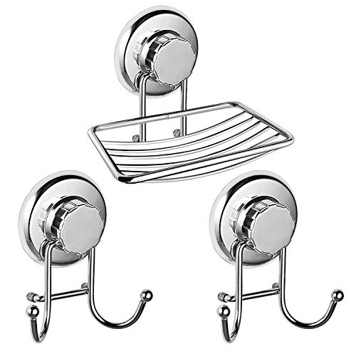 Soap Dish Suction Cup Hooks,IELECMG Bar Soap Sponge Holder Bathroom Hooks Stainless Steel Shower Hooks for Bath Robe, Loofah,Soap Holder Towel Hooks for Bathrooms Kitchen