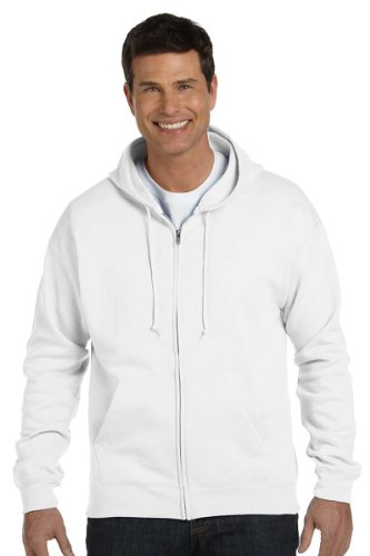 Hanes Men's Full-Zip EcoSmart Fleece Hoodie, White, Medium by Hanes