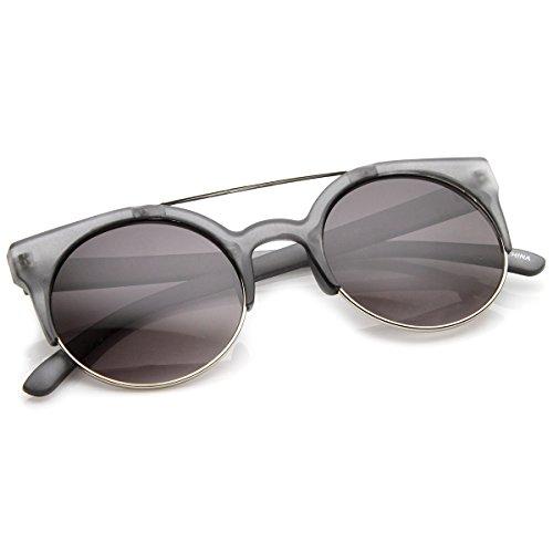 zeroUV - Retro Circle Round Half Frame Aviator Bar Sunglasses