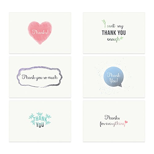 NEW: Thank You Greeting Cards [Top Quality 310gsm] w/ Envelopes, Blank Back [Tree Planted For Each Box Sold]. Bulk Assorted Set For Notes, Weddings, Businesses, Christmas. 6 Unique Designs [36 Pack]