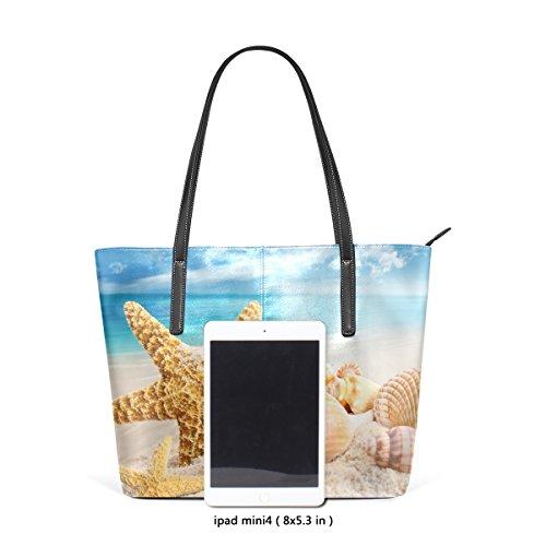 COOSUN Seestern und Seashell Blue Ocean Beach PU Leder Schultertasche Handtasche und Handtaschen Tasche für Frauen