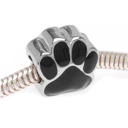 Antique Design argent Noir Motif empreinte de Patte Compatible avec Bracelets Pandora Style Bracelets