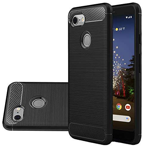 Vinve Carbon Fiber TPU Designed for Google Pixel 3a Case, Slim Shock Absorption Anti-Scratches Flexible Soft Protective Cover Case (Black) ...