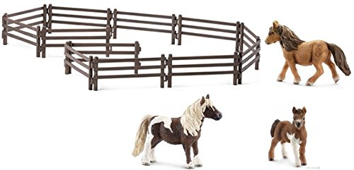 SCHLEICH Shetland Pony Family of 3 Horses (13750, 13751, 13752) with a Feed Set (42115) in a Gift Bag!