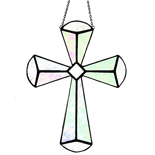 (Cross Suncatcher Stained Glass Ornament Hanging Window Decor J Devlin ORN 180)