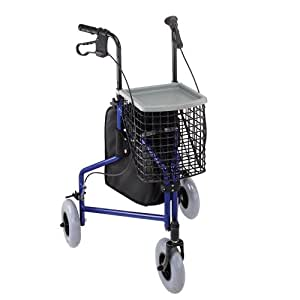Duro-Med Folding Walker With Wheels, 3 Wheel Rollator Walker With Tray, Basket, and Bag, Royal Blue