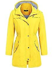 Hooded Jacket Women Fall Solid Rain Jacket Outdoor Raincoat Windproof Casual Loose Lightweight Drawstring Coat