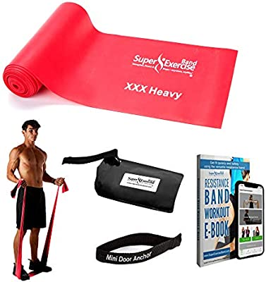 Super Exercise Band Flat Resistance Bands 7 Ft Long Latex Free Training Anchor
