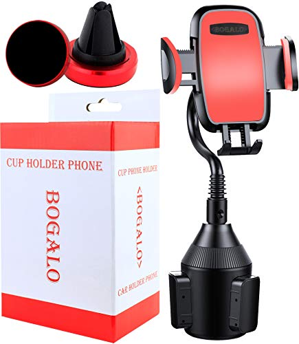 Cup Phone Holder - Smart phone Car Mount And Air Vent Holder In Red - iPhone , Android Phone Compatible - Adjustable Base 360 - Degree Rotation - Mobile Neck Stand Strap Easy Installment BOGALO