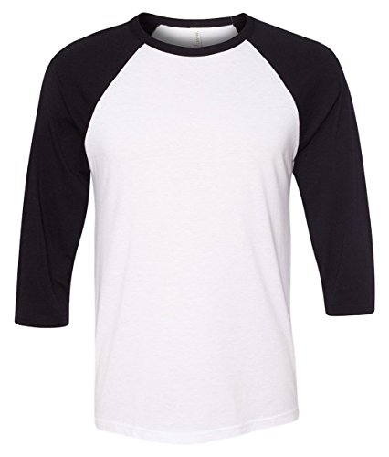 Bella 3200 Unisex 3 By 4 Sleeve Baseball Tee - White & Black, Large