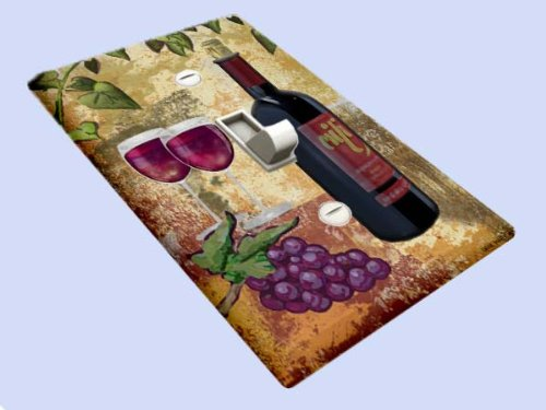 Grapes and Red Wine Decorative Switchplate (Light Switchplate Cover Unique Decor)