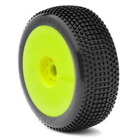 AKA Products 14006SRY Racing Buggy Enduro Soft Evo Wheel Pre-Mounted Yellow Tire, Scale 1:8 Soft Pre Mounted Tire